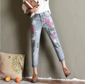 2019 Womens Jeans with Flowers Embroidery Boyfriend Ripped Jeans for Women Harajuku Printing Pantalon Femme Stretch Trousers