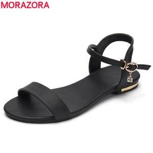 MORAZORA Plus size 34-46 New genuine women fashion flat sandals cow leather summer rhinestone ladies shoes Q1201