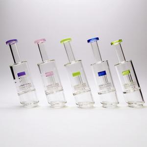 Accesorios de vidrio BONG Fumar tubería Accesorio Matriz Percoladores Bongs Accesorio Claro Cachimbas Color Edge Tubería de agua 8 pulgadas Altura