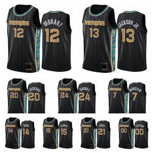 MemphisGrizmaErkekler Ja Morant Jaren Jackson Jr. 2020/21 Swingman City Basketbol Jersey Siyah Yeni Üniforma