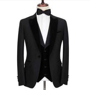Custom Made Groomsmen One Button Groom Tuxedos Peak Lapel Men Suits Wedding Prom Dinner Best Man Blazer ( Jacket+Pants+Tie+Vest ) G69