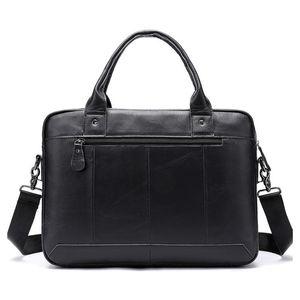2019 Mens Briefcase Bag Mens Genuine Leather Laptop Bag Business Tote For Document Office Portable Laptop Shoulder Bag For Man