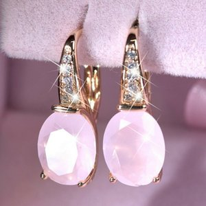 Fashion 925 Sterling Silver Pink Ross Quartz 18K Gold Natural Gemstone Women Teardrop Earrings Bride Engagement Earrings