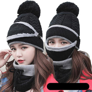 Women's Warm and Cold Proof Outdoor Ear Protection Knitted Scarf Neck Cover Hat Neck Mask Three In One