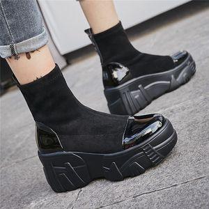 Venta caliente Fedonas zapatos mujer plataformas de tacón alto zapatos casuales botas mujeres otoño invierno cálido cuero genuino tobillo botas cortas botas