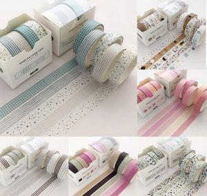 5 PCS / Pack Grid Creative Coloré Coloré Adhésif Ruban adhésif masquage Washi Tape Scrapbooking Sticker Label School Office Supply 2016