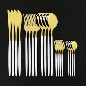 Посуда Кухонные столовые приборы Набор столовых приборов 20 шт. Flatware Forcks Ножи Ложки Ужин из нержавеющей стали Белый Золотой Экологически чистые посуды