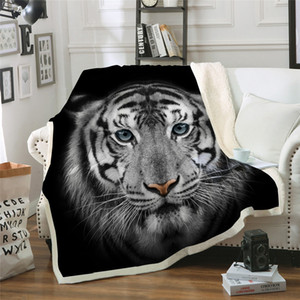 3D Tiger Coperta sherpa coperte in pile per bambini per adulti Thin Quilt Animal Print 201113