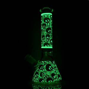 New 10 inch beaker bong hand painting Glow in the dark glass water pipe thick dab rigs oil rigs with bowl and downsteam