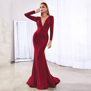 Deep V Neck Full Sleeved Pleated Long Evening Party Dress Satin Floor Length Event Gown Prom Robe Z1202