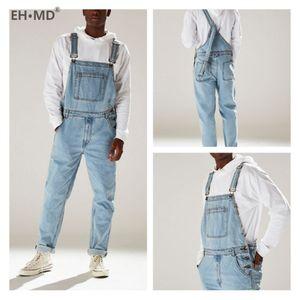 EH · MD® Sling One-peça Jeans Bolsos de tórax sazonais masculinos masculinos podem ser combinados com cintos puro Céu de algodão azul esticar reto H1209