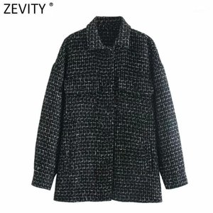 Zevity Femmes Vintage Plaid Casual Casual Black Wellen Chemise Chemise Femme Chic manches longues Outwear Veste Streetwear Poches Tops CT6271