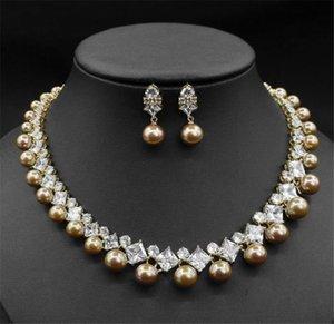 Wedding Bridal Freshwater Pearls Necklace Earrings Jewelry Set Zircon CZ Jewelry Women Fashion Diamond Pendant Necklace Earrings Prom Gold
