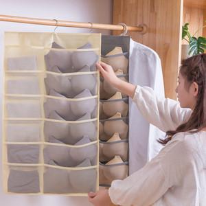 Mulheres Underwear Meias Pendurado Saco Dupla Side Wardrobe Closet Bra Armazenamento Saco Non-Woven Saco Início Roupas Organizador 12/18/24 Bolsos GWA2697