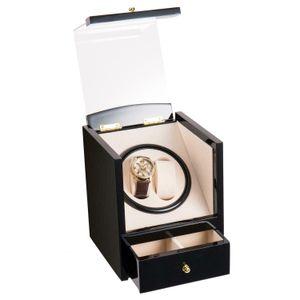 Automatic Rotating 2+2 Wood Watch Winder Wristwatch Display Box Storage Case USA