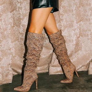 Hot Popular Sexy Leopard Striped High Heel Women Boots Pleated Lady's Fashion Thigh High Boots Dress Shoes Big Size 43