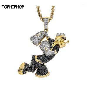 Tophiphop Bling out out out up ascope chape necklace 펜던트와 큐빅 지르콘 골드 남성 여성 힙합 록 보석 1