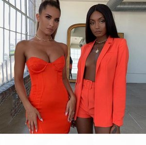 Sexy 2 Piece Set Casual Women Clothes Office Lady Top And Shorts Suit Up 2 Piece Set Outfits Suit V Neck Blazer Set
