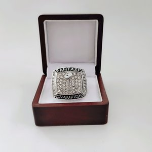 2020 The Newest 2017 -2018 fantasy football championship ring With Wooden Box Fan Gift wholesale Drop Shipping