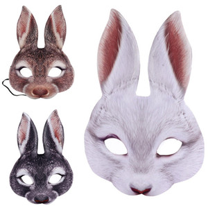 Bunny Mask Animal EVA Half Face Rabbit Ear Mask for Easter Halloween Party Mardi Gras Costume Accessory
