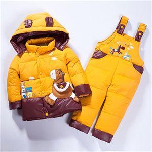 Kids Winter Jacket Overalls Down Jacket For Boys Girls Children Outerwear Toddler Baby Parka Jumpsuits Horse Coat Pant Set LJ201203