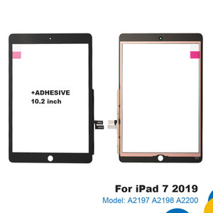 Para iPad 7 8 7ª 8ª 8ª 2019 Versión A2197 A2200 A2198 Pantalla táctil Digitalizador de pantalla externa delantero de 10,2 pulgadas con adhesivo