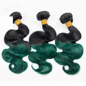 Malásia Dark Verde Ombre Ombre Humano Cabelo Bundles Onda Ondulado Weave Weave Raízes Escuras # 1B Verde Ombre Human Human Weave Bundles Tangle Free
