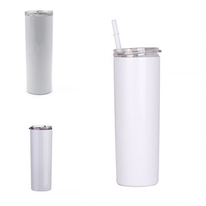 Plain White 20oz 600ML Cup Plastic Straws Mug Sublimation Straight Skinny Tumbler Flat Covers Stainless Steel Drink Water Coffee Juice G2