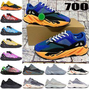 NOUVEAU KANYE 700 V1 V2 MNVN Running Shoes de course Bleu Sun Blue Carbon Bleu Vanta Tye-Colorant Rouge Jaune Reflective Hommes Mens Femmes Sneakers Formateurs