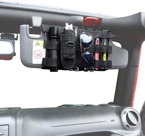Sun Visor Organizer Front Visor Storage Cover for 2007-2020 Jeep Wrangler JK JL & Gladiator JT, Interior Storage Accessories, Black