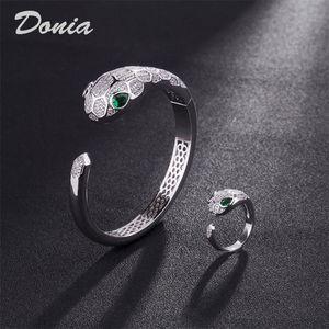 Donia jewelry European and American fashion exaggeration Classic Animal micro inlay Zirconia Bracelet Ring Set women's bracelet ring birthda