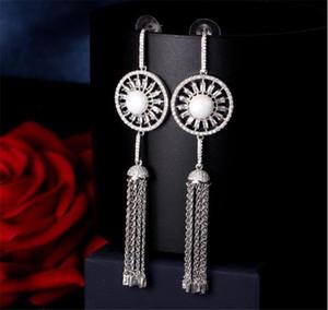 Fashion Designer Circle Earrings Long Tassel Dropping Earrings Jewelry Set Women Wedding Bridal Jewelry Party Prom Metal Tassel Earrings