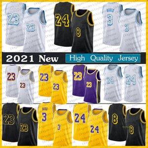 Erkek 2021 Yeni Siyah Sarı Los Anthony 3 Davis Marc 33 Gasol Angeles Kyle 0 KUZMA Alex 4 Caruso City New Edition Basketbol Formaları