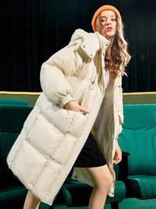Fitaylor Winter Stand Collar Detachable Hooded Long Jacket Women Warm Down Coat 90% White Duck Down Parkas Loose Thick Outwear