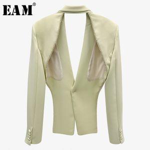 [EAM] Mujeres Rhinestones verdes ahuecamiento hacia fuera Blazer nueva solapa manga larga de manga suelta chaqueta de ajuste de moda marea primavera otoño 2020 1x897 x1214