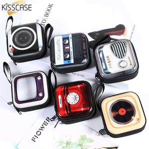 KISSCASE Portable Earphone Case Bag Mini Zipper Square Hard Storage Box Case For Headphone Memory Card Coin USB Cable Organizer