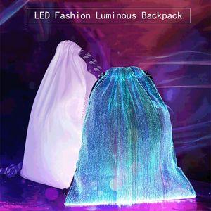 LED Zaino luminoso moda moda colorato bling bling bagliore fibra ottica con coulisse tasca sportiva di lusso zaino da esterno borsa hwd3179
