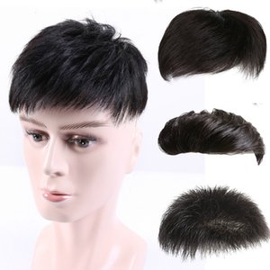 100% Hair Handsome Top Replacement Films Men's Wigs Men's Short Hairs Bald Foreheads, Men's Hair Replacement