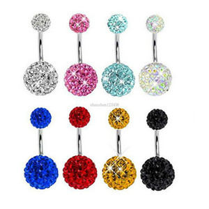 Fashion Crystal ball belly ring Sexy Stainless steel Navel Bell Button Rings Piercing Jewelry women body jewelry will and sandy New