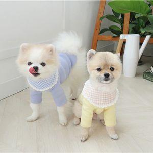 Dantel Yaka Pet Örme Dip Gömlek Yaz Ince Teddy Bear Xiong Bomei Kedi VIP Schnauzer Köpek Küçük Köpek Giysileri 201114