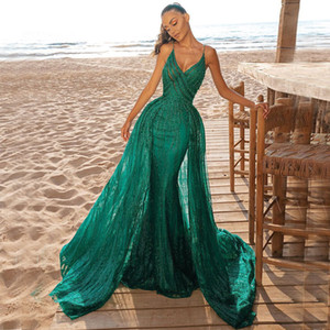 Hunter Mermaid Overskirt Prom Dresses Deep V Neck Lace Evening Gowns Sequined Sweep Train Formal Dress