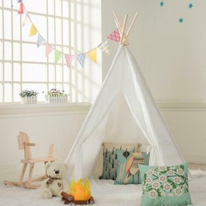 White Teepee Play Tent Kids Canvas Playhouse Sleeping Dome w  Carrying Bag White