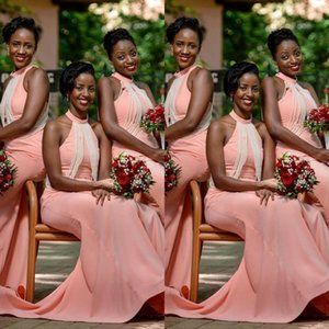 African Blush Pink New Bridesmaid Dresses Wedding Guest Dress Mermaid Halter Pearls Floor Length Plus Size Country Maid of Honor Gowns
