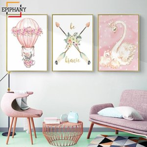 Boho Animal Swan Art Hot Air Balloon Canvas Painting Pink Flamingo Pictures Baby Girl Nursery Wall Art Prints Kids Room Posters