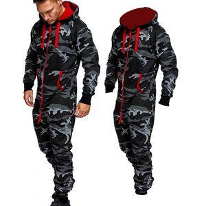 Men's Jumpsuit One Piece Men's Sets 2020 New Men's Hooded Fleece Jumpsuit Men Camouflage Print Personality Casual Suits Men B1205