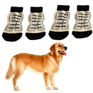 New 4pcs Pet Dog Sneakers Shoelace Pattern Non-slip Socks Paws Cover Shoes S-XL Dropshipping