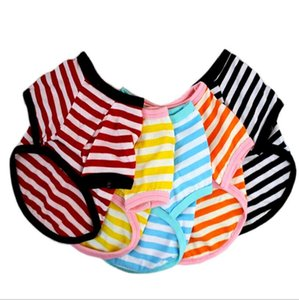 Pet Clothes Elastic Shirt Pet Dog Striped Clothes Cotton Warm Winter T-shirt Cat Puppy Costume Apparel for Small Medium Dog zyy575
