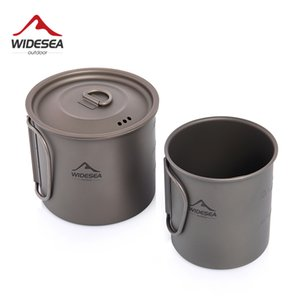 Widesea Camping Mug Titanium Cup Tourist Tableware Picnic Utensils Outdoor Kitchen Equipment Travel Cooking set Cookware Hiking Q1118