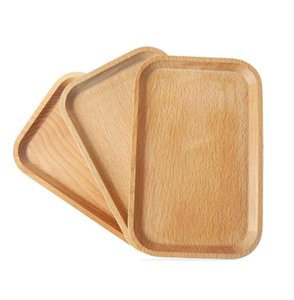 Wooden Soap Dishes Square Wooden Fruits Plate Dish Wooden Dessert Biscuits Tea Server Tray Wood Cup Holder Bowl Pad Tableware Mat AHC4068