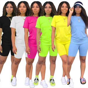 2020 Causal 2 Piece Suit Solid Short Sleeve Crop Tops T Shirt Short Pants Tracksuit Matching Set Female Joggers Sportwear S XXXL